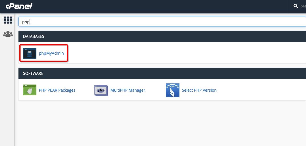 Dashboard PHPMyAdmin